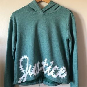 Justice hoodie with drawstring at waist size 14/16